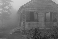 Mt. Mitchell picnic shelter in fog